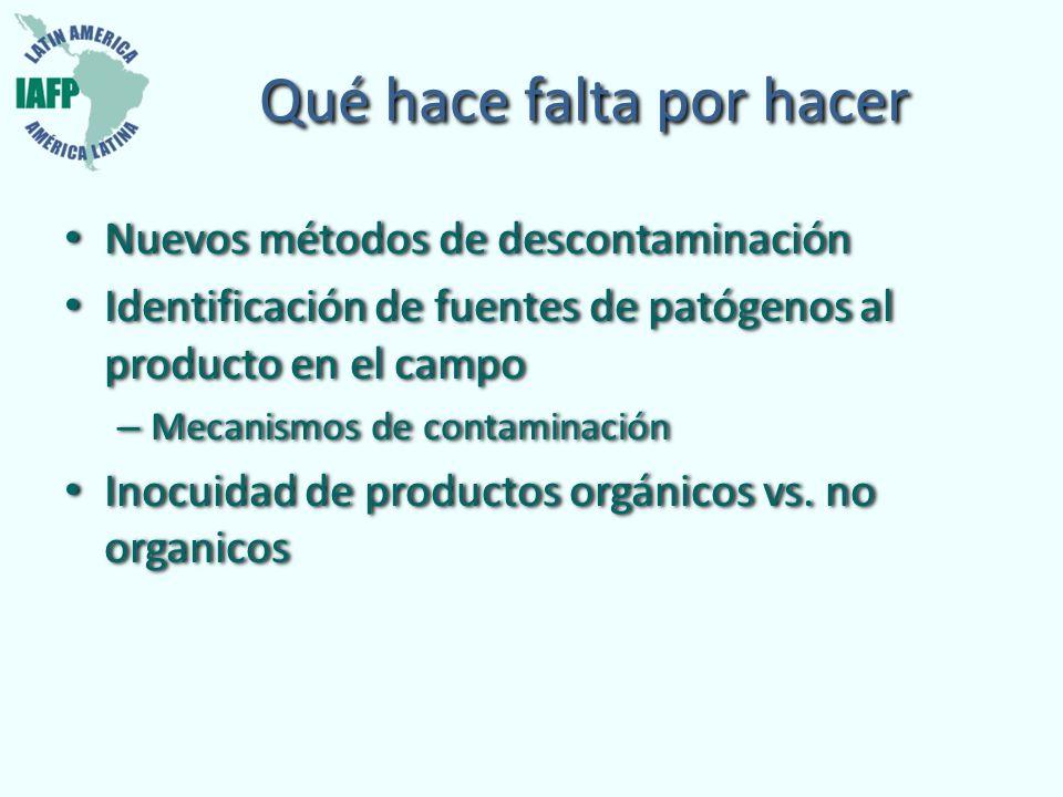 Qué hace falta por hacer Nuevos métodos de descontaminación Identificación de fuentes de patógenos al producto en el campo – Mecanismos de contaminaci