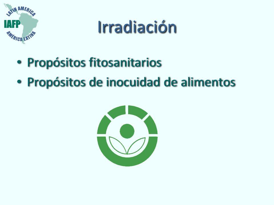 Irradiación Propósitos fitosanitarios Propósitos de inocuidad de alimentos Propósitos fitosanitarios Propósitos de inocuidad de alimentos
