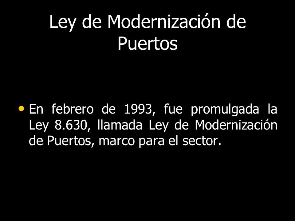 Ley de Modernización de Puertos En febrero de 1993, fue promulgada la Ley 8.630, llamada Ley de Modernización de Puertos, marco para el sector.