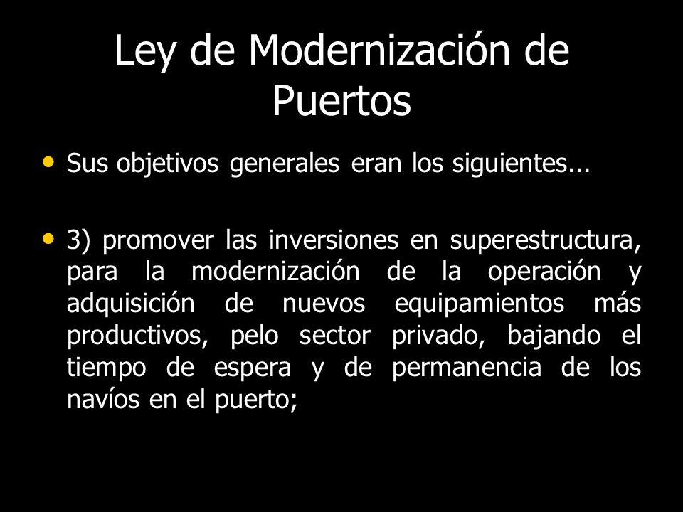 Ley de Modernización de Puertos Sus objetivos generales eran los siguientes...
