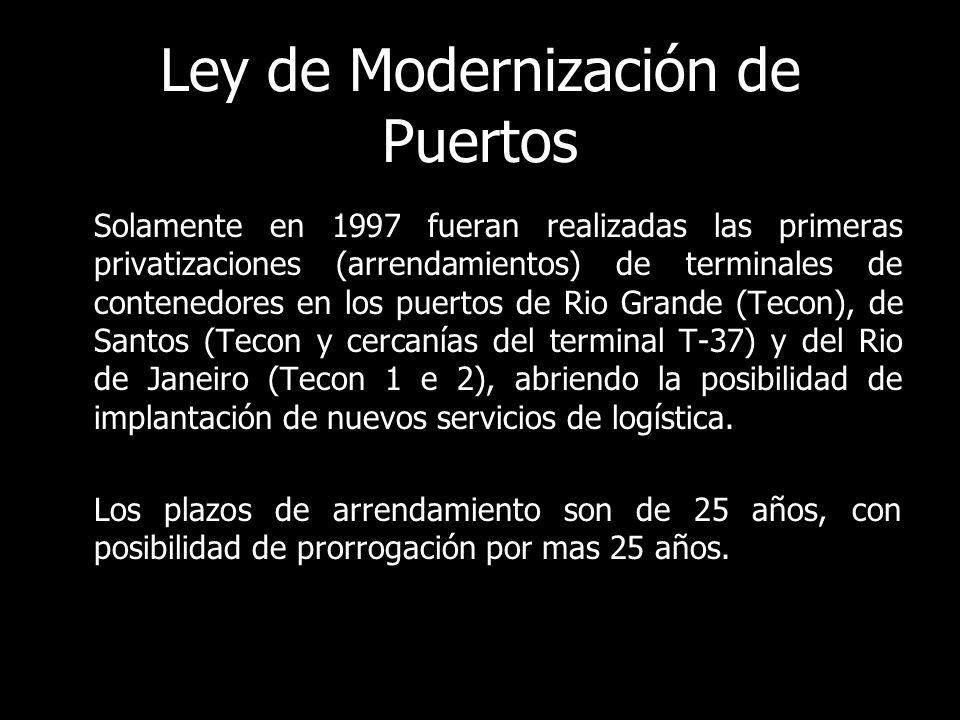 Ley de Modernización de Puertos Solamente en 1997 fueran realizadas las primeras privatizaciones (arrendamientos) de terminales de contenedores en los puertos de Rio Grande (Tecon), de Santos (Tecon y cercanías del terminal T-37) y del Rio de Janeiro (Tecon 1 e 2), abriendo la posibilidad de implantación de nuevos servicios de logística.