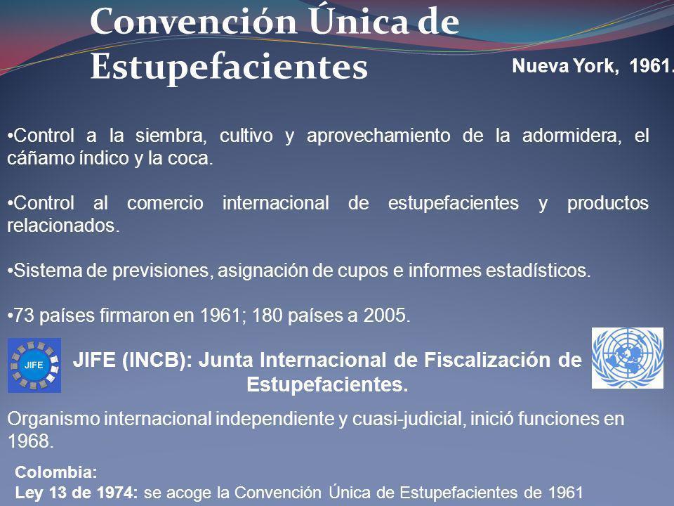 Convención Única de Estupefacientes Nueva York, 1961. JIFE (INCB): Junta Internacional de Fiscalización de Estupefacientes. Organismo internacional in
