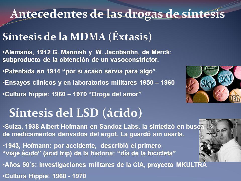 Antecedentes de las drogas de síntesis Síntesis de la MDMA (Éxtasis) Síntesis del LSD (ácido) Alemania, 1912 G. Mannish y W. Jacobsohn, de Merck: subp