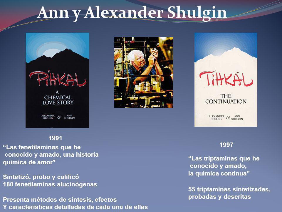 1991 Las fenetilaminas que he conocido y amado, una historia quimica de amor Ann y Alexander Shulgin 1997 Sintetizó, probo y calificó 180 fenetilamina