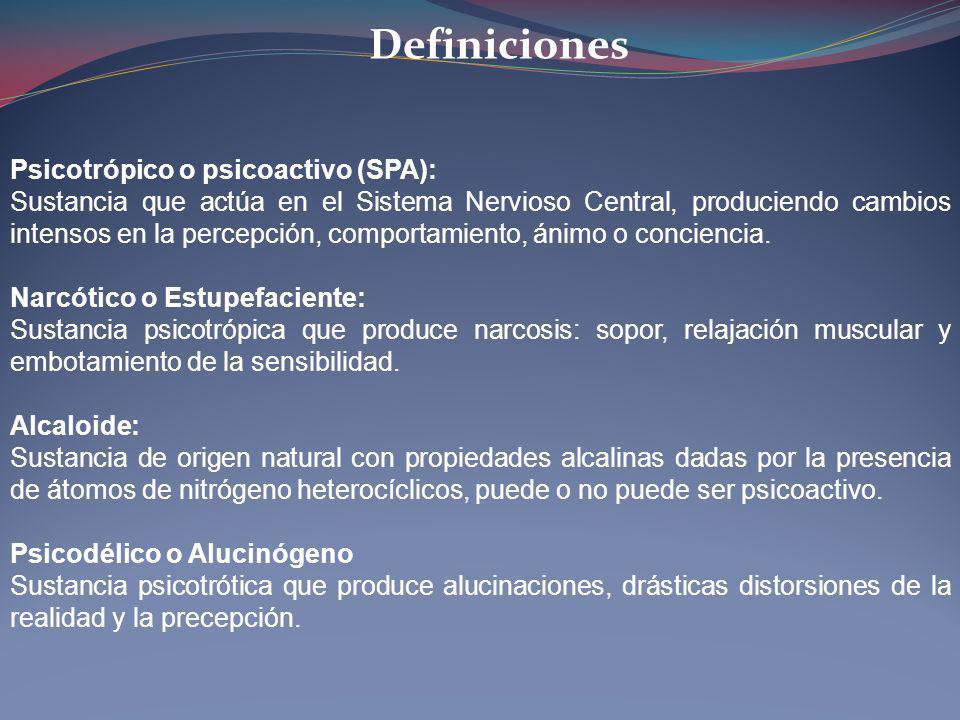 Definiciones Psicotrópico o psicoactivo (SPA): Sustancia que actúa en el Sistema Nervioso Central, produciendo cambios intensos en la percepción, comp