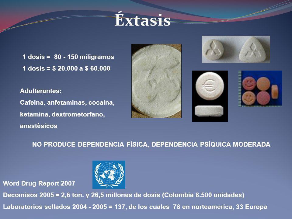 Éxtasis Word Drug Report 2007 Decomisos 2005 = 2,6 ton. y 26,5 millones de dosis (Colombia 8.500 unidades) Laboratorios sellados 2004 - 2005 = 137, de