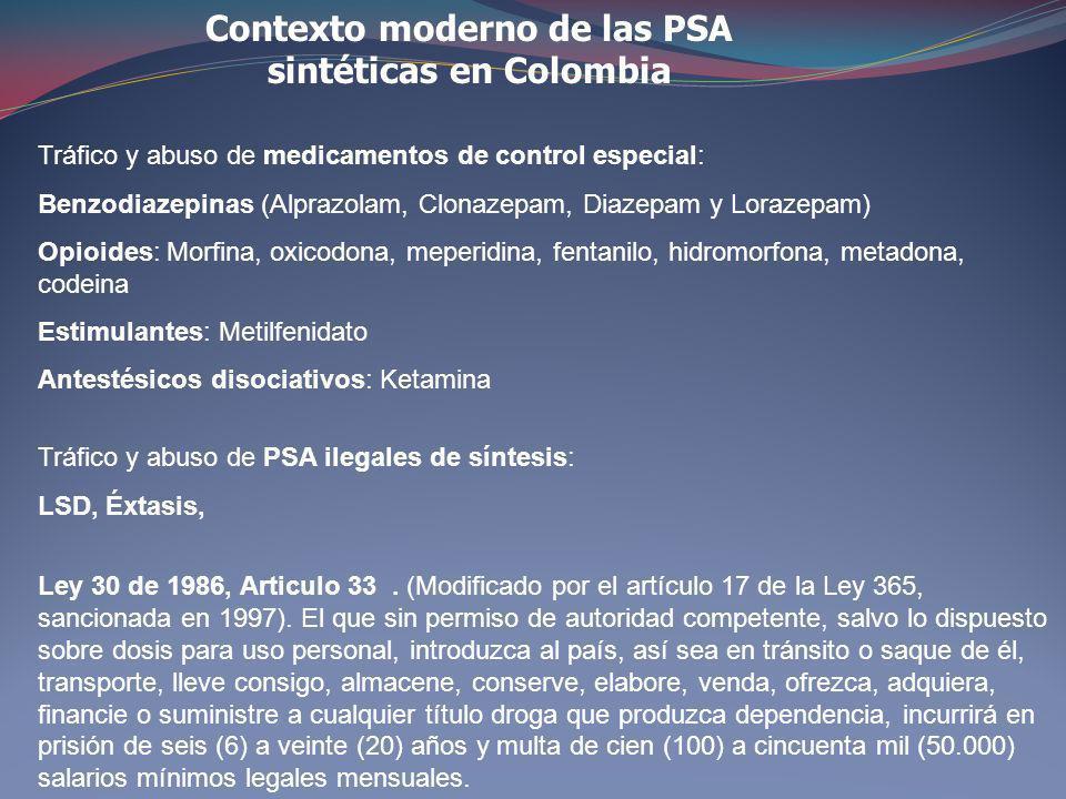 Contexto moderno de las PSA sintéticas en Colombia Ley 30 de 1986, Articulo 33. (Modificado por el artículo 17 de la Ley 365, sancionada en 1997). El