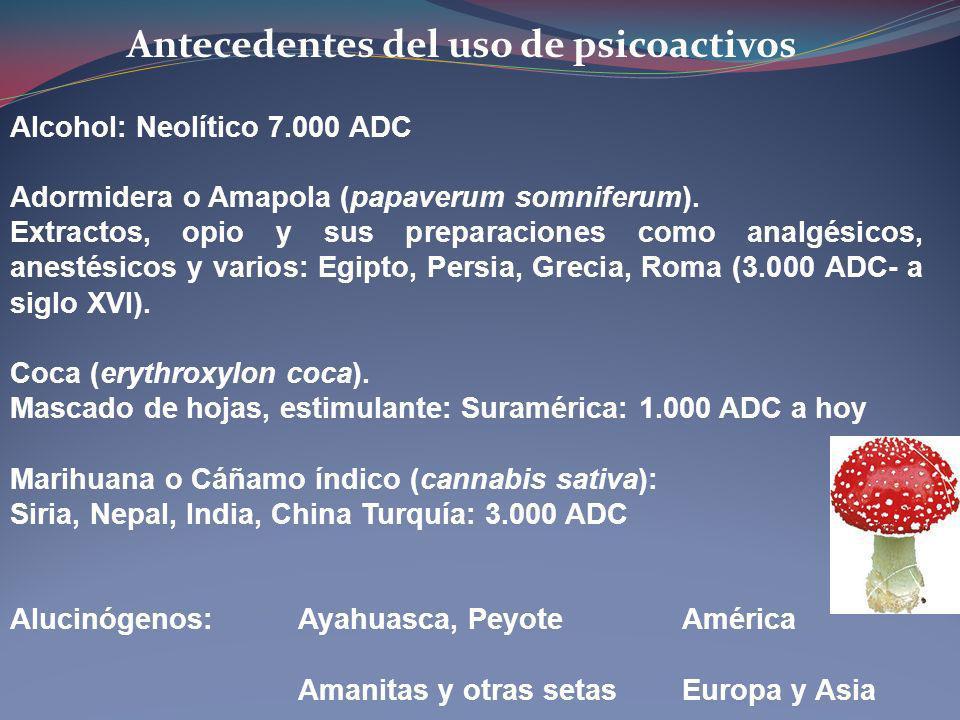 Antecedentes del uso de psicoactivos Alcohol: Neolítico 7.000 ADC Adormidera o Amapola (papaverum somniferum). Extractos, opio y sus preparaciones com