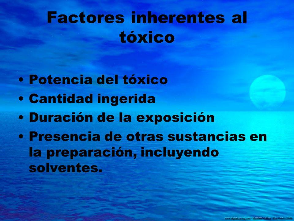Factores inherentes al tóxico Potencia del tóxico Cantidad ingerida Duración de la exposición Presencia de otras sustancias en la preparación, incluye