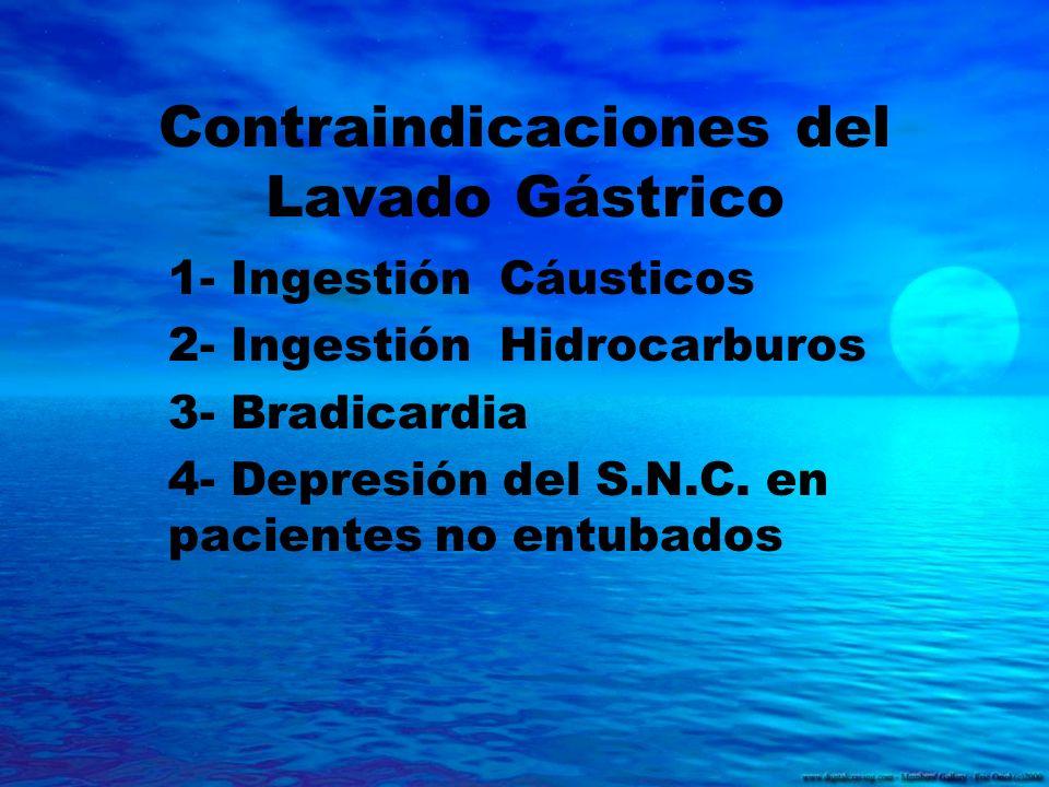 Contraindicaciones del Lavado Gástrico 1- Ingestión Cáusticos 2- Ingestión Hidrocarburos 3- Bradicardia 4- Depresión del S.N.C. en pacientes no entuba