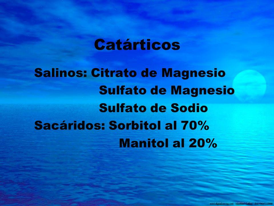 Catárticos Salinos: Citrato de Magnesio Sulfato de Magnesio Sulfato de Sodio Sacáridos: Sorbitol al 70% Manitol al 20%