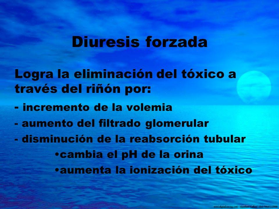 Diuresis forzada Logra la eliminación del tóxico a través del riñón por: - incremento de la volemia - aumento del filtrado glomerular - disminución de