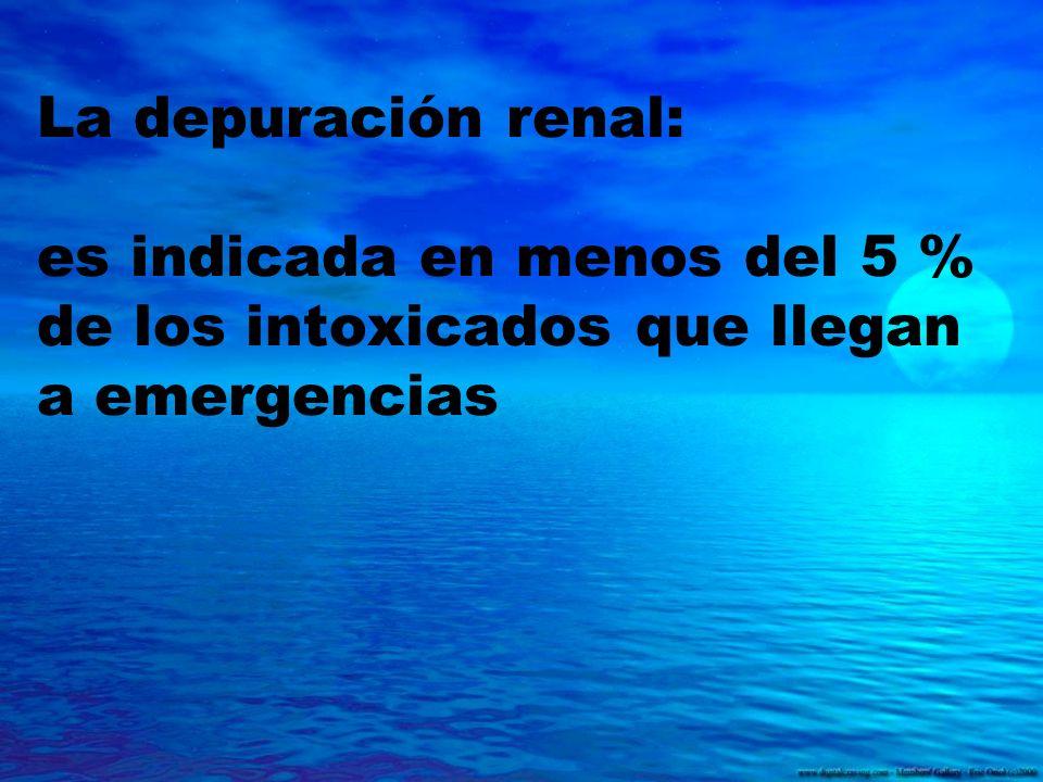 La depuración renal: es indicada en menos del 5 % de los intoxicados que llegan a emergencias