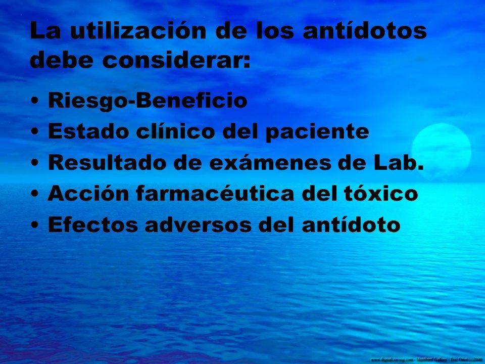 La utilización de los antídotos debe considerar: Riesgo-Beneficio Estado clínico del paciente Resultado de exámenes de Lab. Acción farmacéutica del tó
