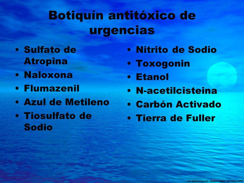 Botiquín antitóxico de urgencias Sulfato de Atropina Naloxona Flumazenil Azul de Metileno Tiosulfato de Sodio Nitrito de Sodio Toxogonin Etanol N-acet