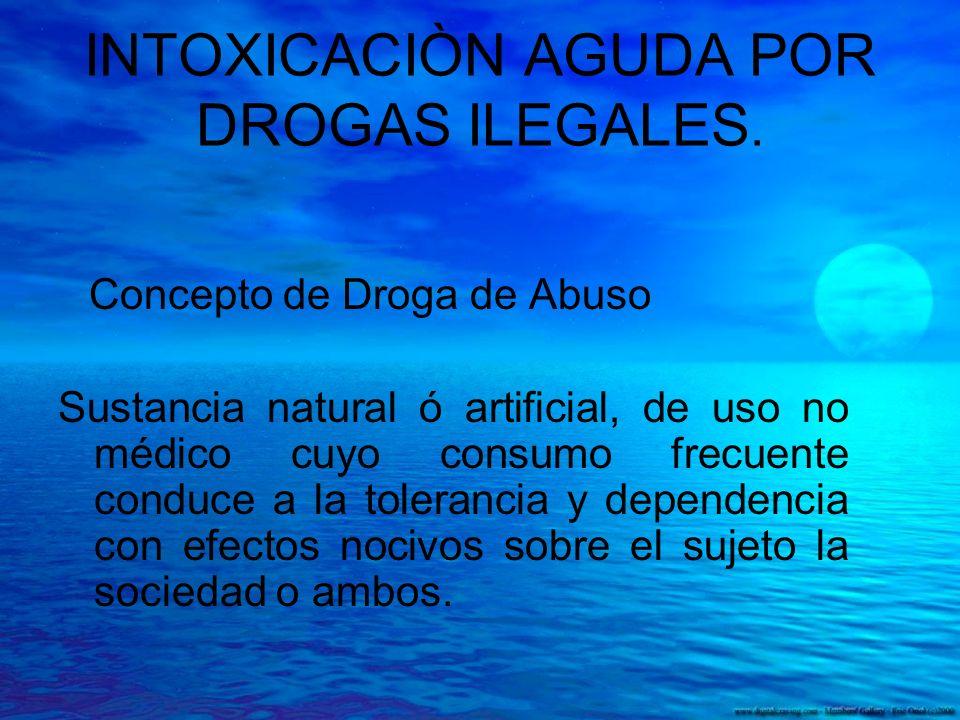 INTOXICACIÒN AGUDA POR DROGAS ILEGALES. Concepto de Droga de Abuso Sustancia natural ó artificial, de uso no médico cuyo consumo frecuente conduce a l