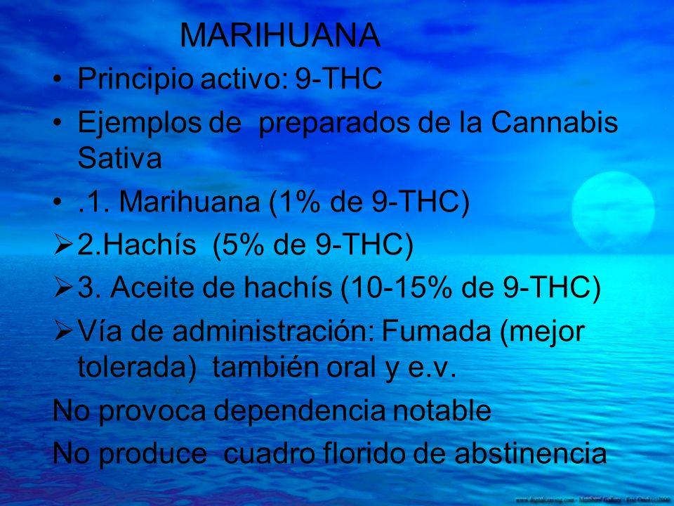 MARIHUANA Principio activo: 9-THC Ejemplos de preparados de la Cannabis Sativa.1. Marihuana (1% de 9-THC) 2.Hachís (5% de 9-THC) 3. Aceite de hachís (