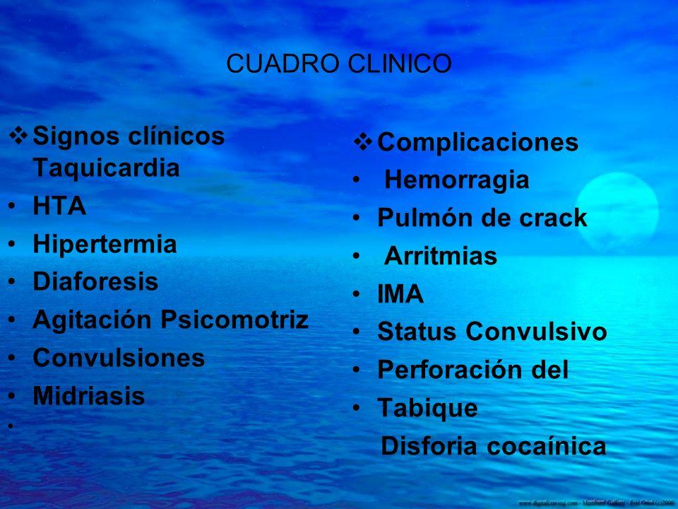 CUADRO CLINICO Signos clínicos Taquicardia HTA Hipertermia Diaforesis Agitación Psicomotriz Convulsiones Midriasis Complicaciones Hemorragia Pulmón de