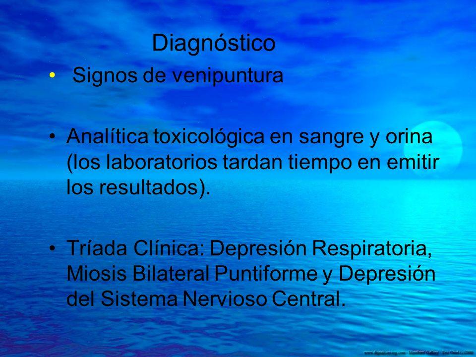 Diagnóstico Signos de venipuntura Analítica toxicológica en sangre y orina (los laboratorios tardan tiempo en emitir los resultados). Tríada Clínica: