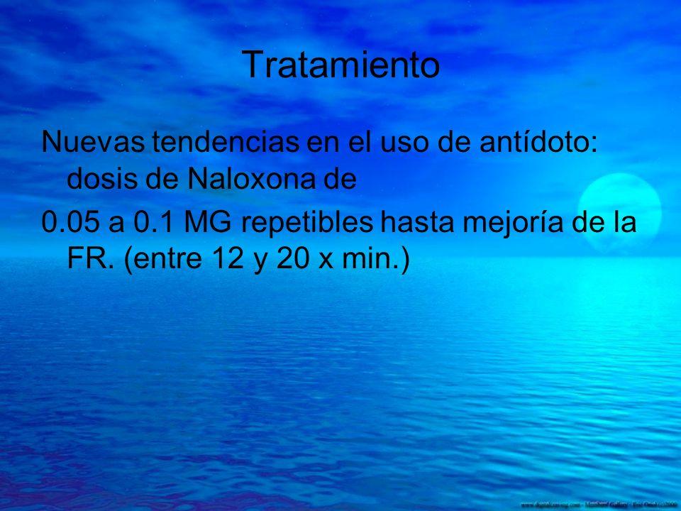 Tratamiento Nuevas tendencias en el uso de antídoto: dosis de Naloxona de 0.05 a 0.1 MG repetibles hasta mejoría de la FR. (entre 12 y 20 x min.)