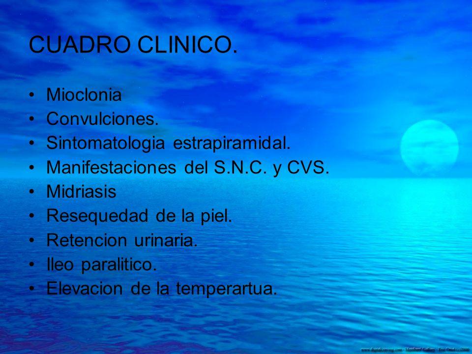 CUADRO CLINICO. Mioclonia Convulciones. Sintomatologia estrapiramidal. Manifestaciones del S.N.C. y CVS. Midriasis Resequedad de la piel. Retencion ur