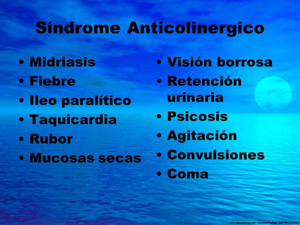 Síndrome Anticolinergico Midriasis Fiebre Ileo paralítico Taquicardia Rubor Mucosas secas Visión borrosa Retención urinaria Psicosis Agitación Convuls