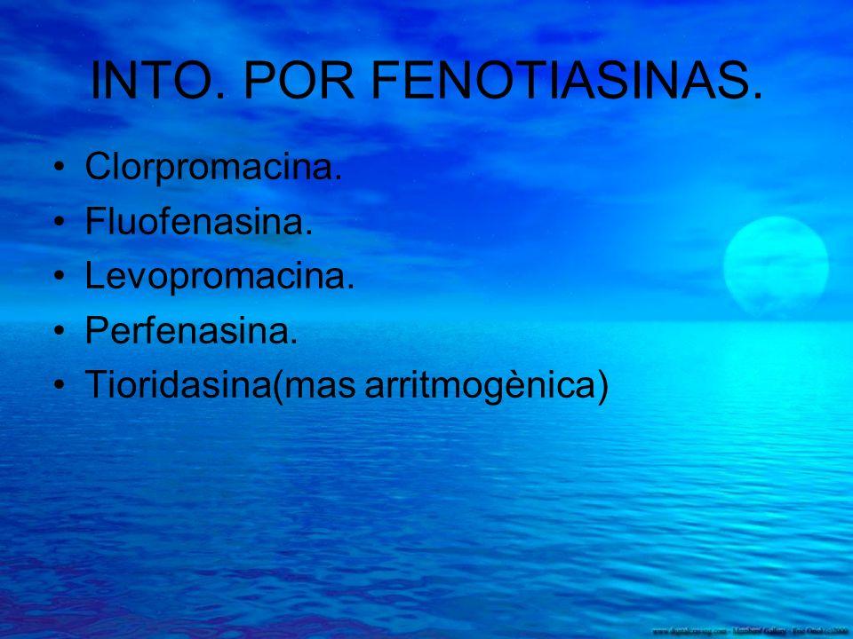 INTO. POR FENOTIASINAS. Clorpromacina. Fluofenasina. Levopromacina. Perfenasina. Tioridasina(mas arritmogènica)