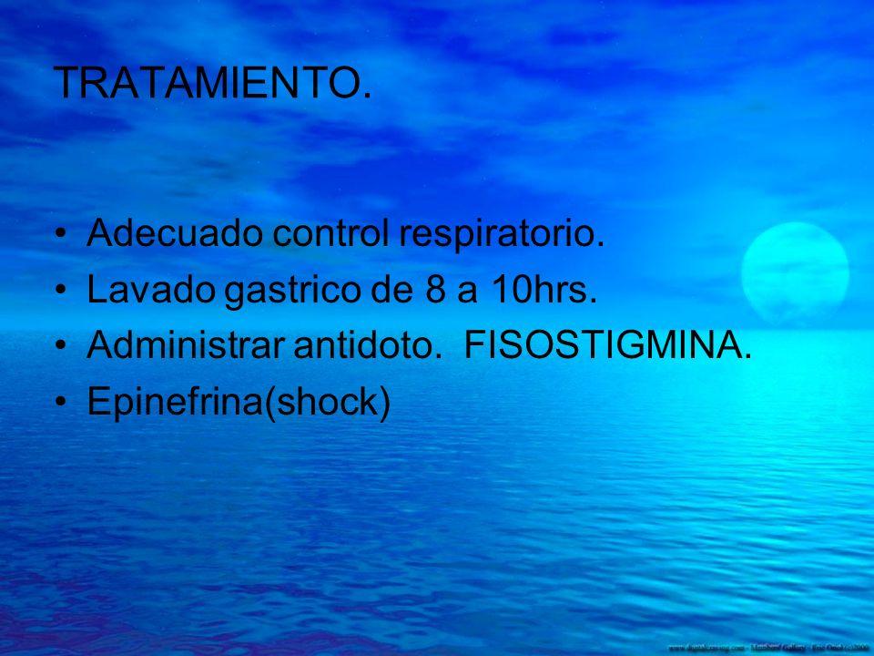 TRATAMIENTO. Adecuado control respiratorio. Lavado gastrico de 8 a 10hrs. Administrar antidoto. FISOSTIGMINA. Epinefrina(shock)