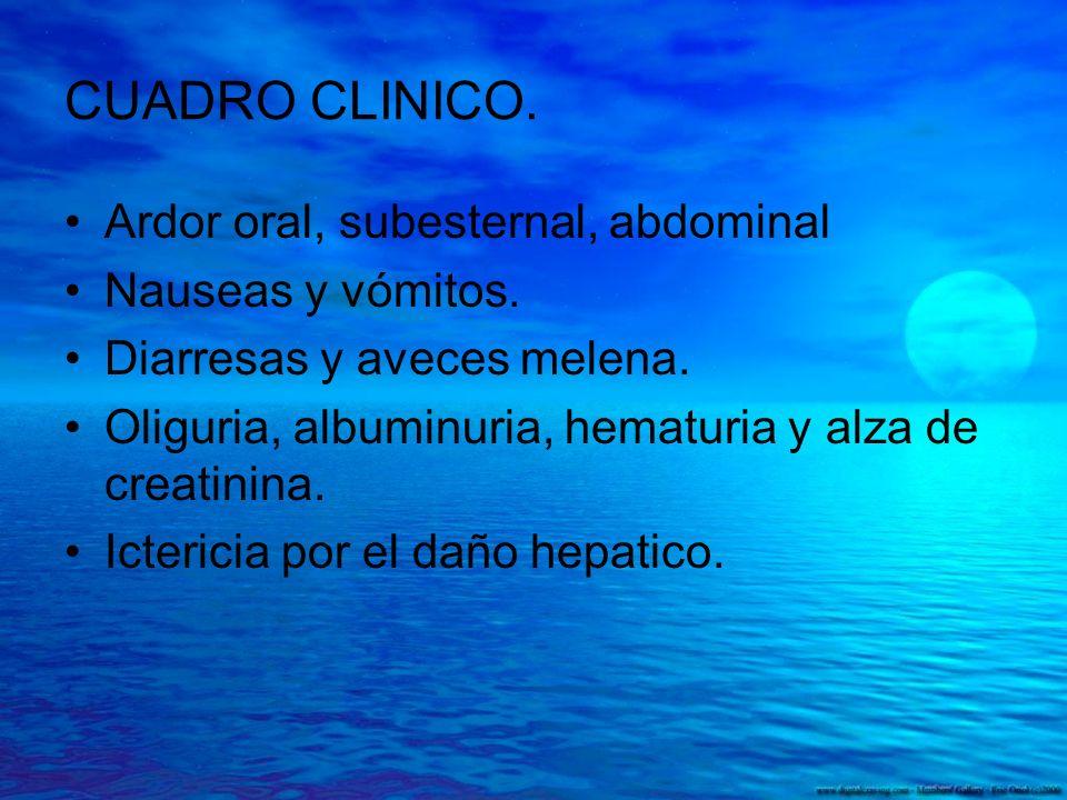 CUADRO CLINICO. Ardor oral, subesternal, abdominal Nauseas y vómitos. Diarresas y aveces melena. Oliguria, albuminuria, hematuria y alza de creatinina