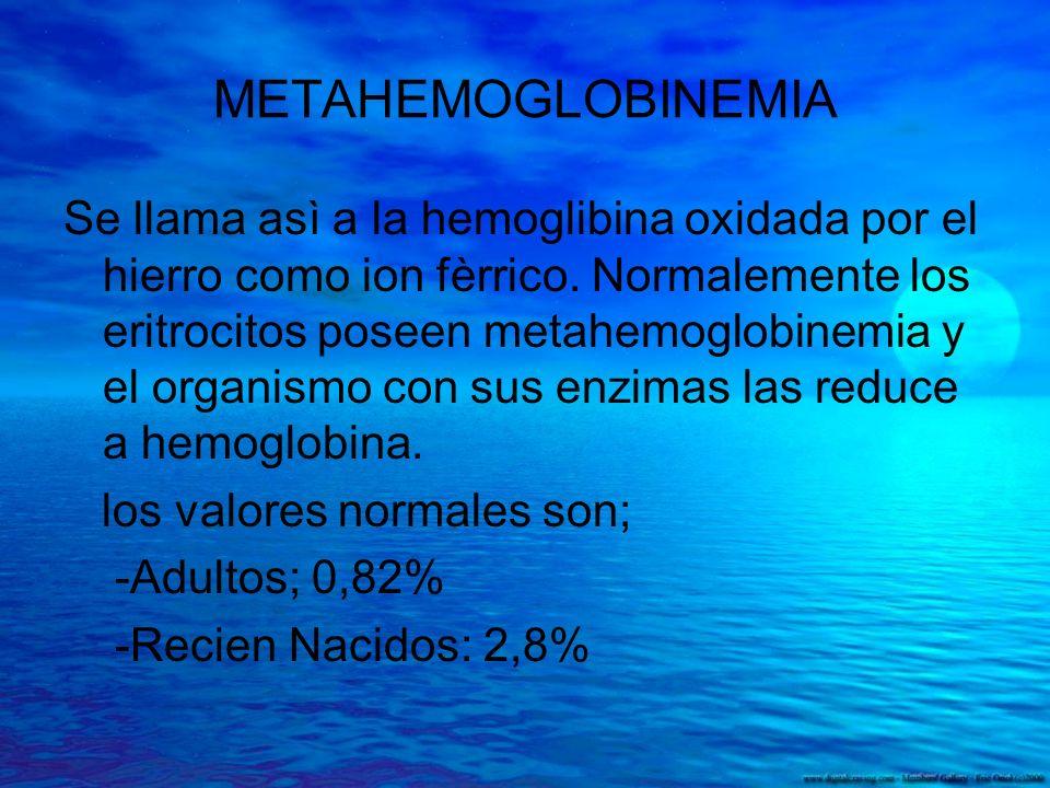 METAHEMOGLOBINEMIA Se llama asì a la hemoglibina oxidada por el hierro como ion fèrrico. Normalemente los eritrocitos poseen metahemoglobinemia y el o