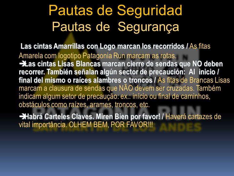 Las cintas Amarrillas con Logo marcan los recorridos / Las cintas Amarrillas con Logo marcan los recorridos / As fitas Amarela com logotipo Patagonia Run marcam as rotas.