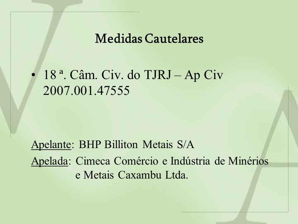 Medidas Cautelares 18 ª. Câm. Civ.