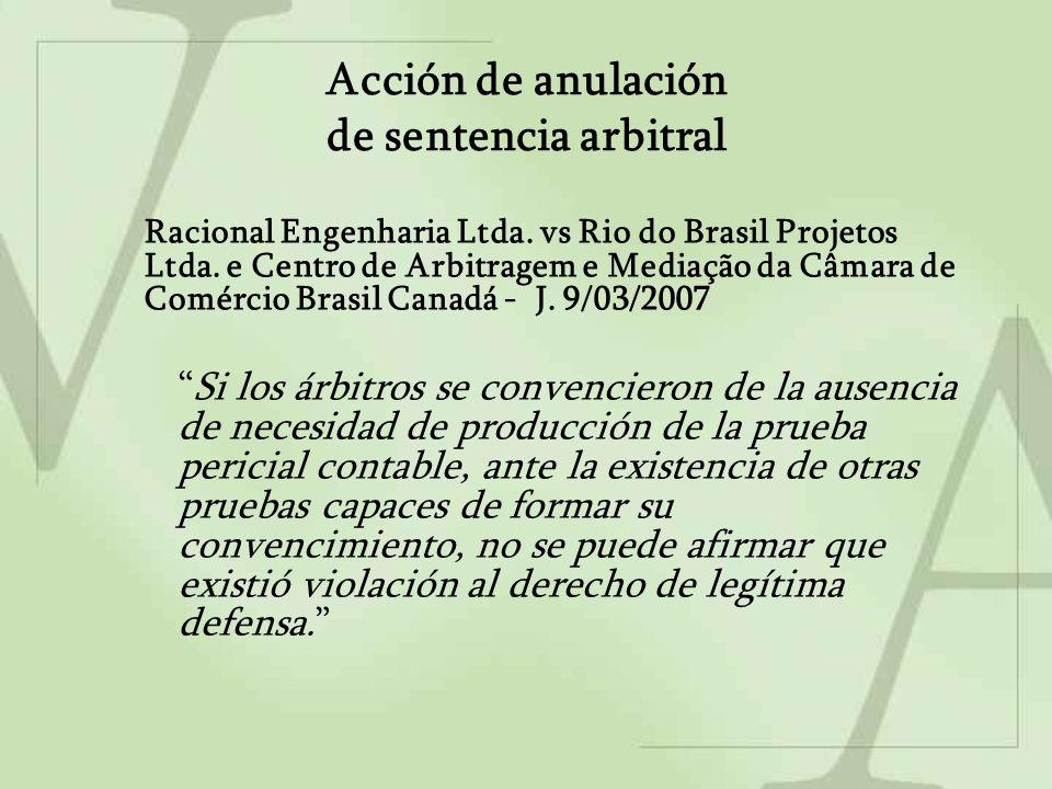Acción de anulación de laudo arbitral extranjero / Reconocimiento y Ejecución de laudo arbitral extranjero First Brands do Brasil Ltda.
