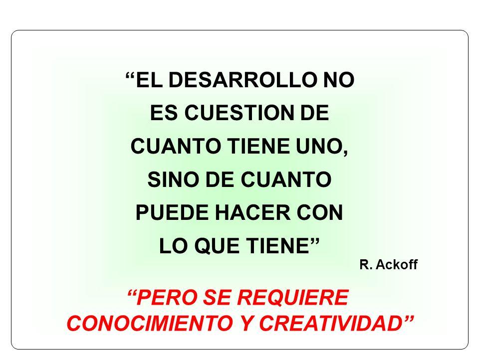 EL DESARROLLO NO ES CUESTION DE CUANTO TIENE UNO, SINO DE CUANTO PUEDE HACER CON LO QUE TIENE R. Ackoff PERO SE REQUIERE CONOCIMIENTO Y CREATIVIDAD