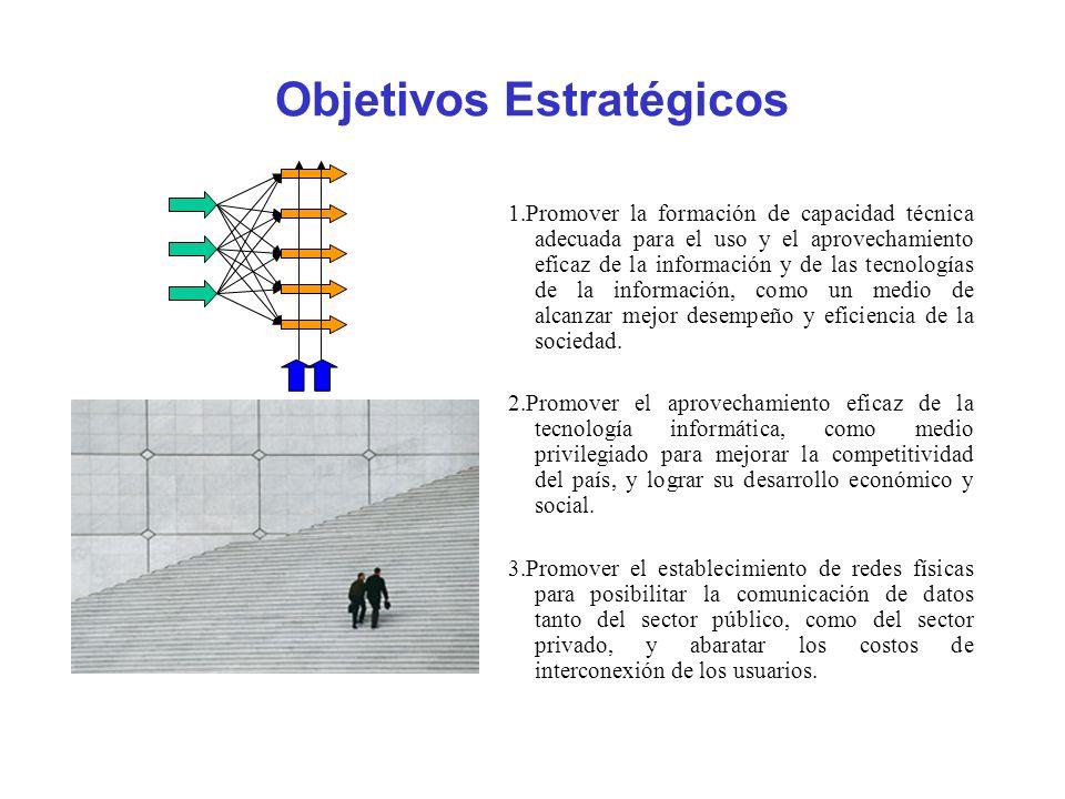 Objetivos Estratégicos 1.Promover la formación de capacidad técnica adecuada para el uso y el aprovechamiento eficaz de la información y de las tecnol