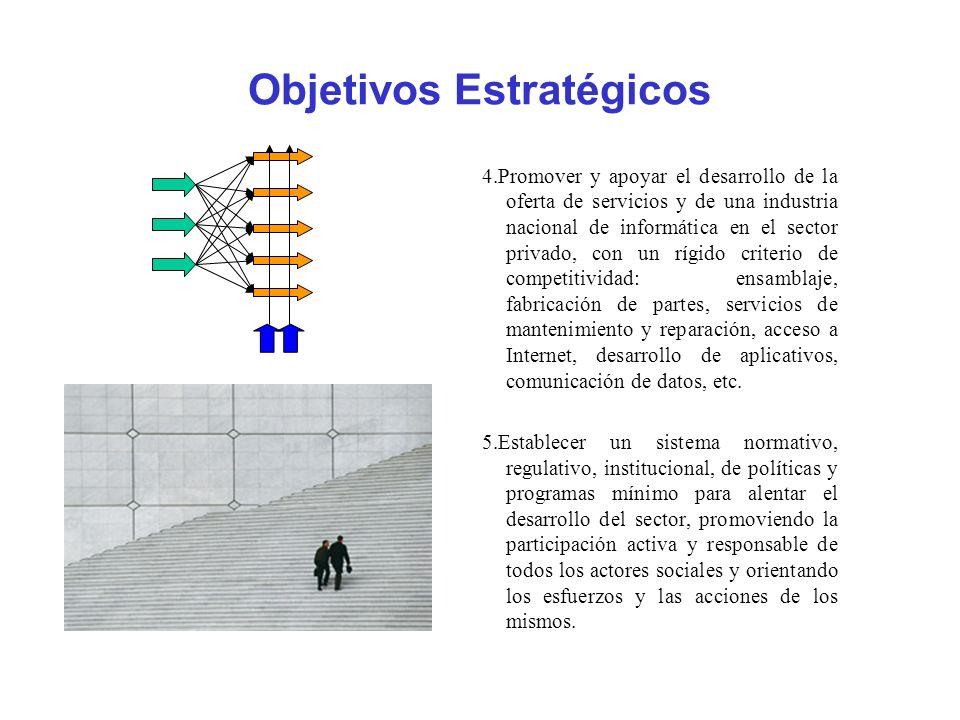 Objetivos Estratégicos 4.Promover y apoyar el desarrollo de la oferta de servicios y de una industria nacional de informática en el sector privado, co