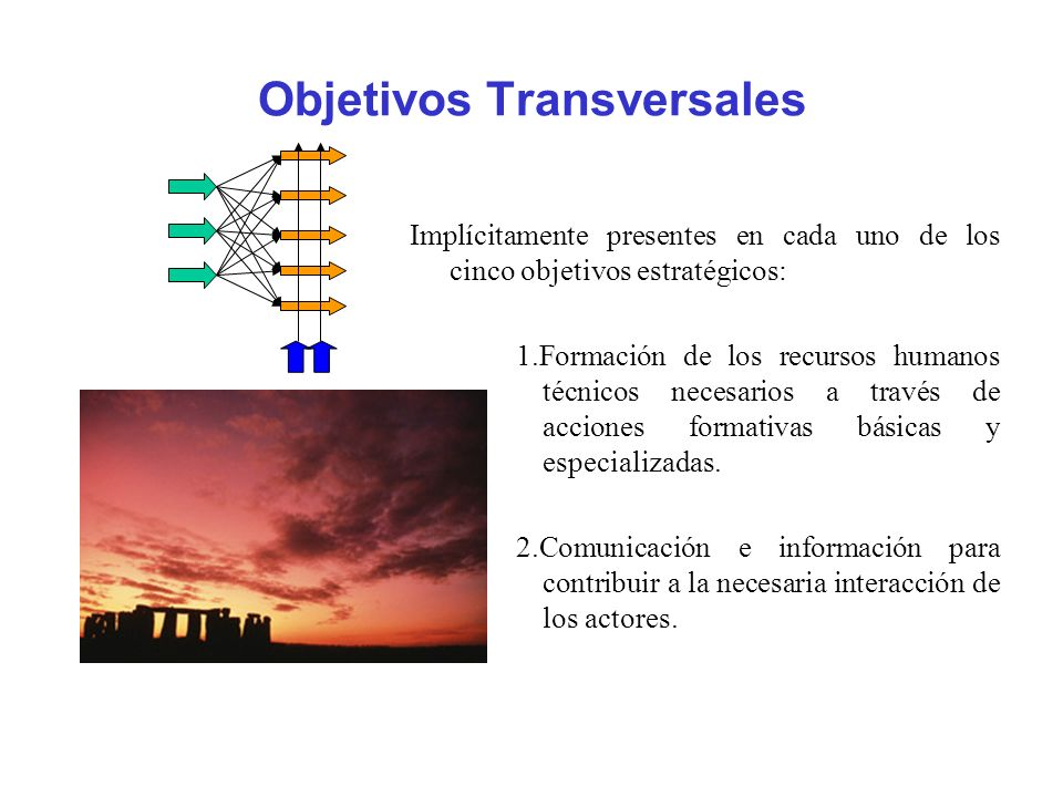 Objetivos Transversales Implícitamente presentes en cada uno de los cinco objetivos estratégicos: 1.Formación de los recursos humanos técnicos necesar