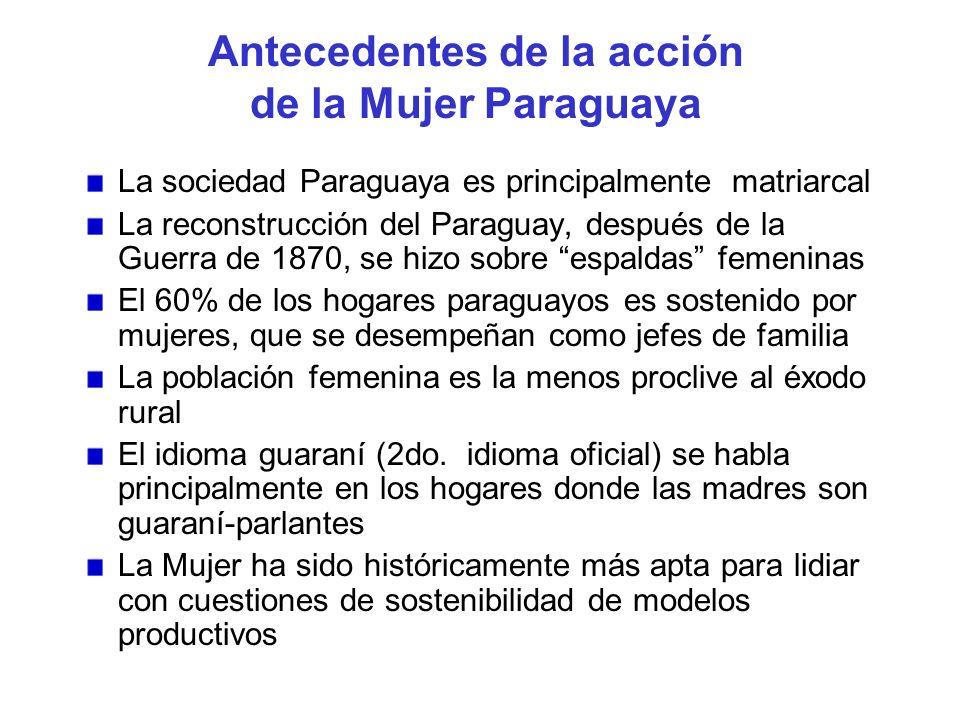 Antecedentes de la acción de la Mujer Paraguaya La sociedad Paraguaya es principalmente matriarcal La reconstrucción del Paraguay, después de la Guerr