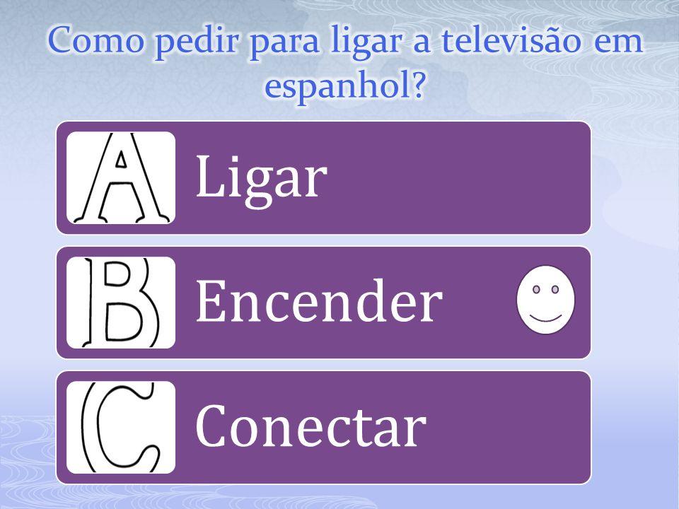 Se você quiser ligar um aparelho eletrônico, a palavra, em espanhol, é encender.