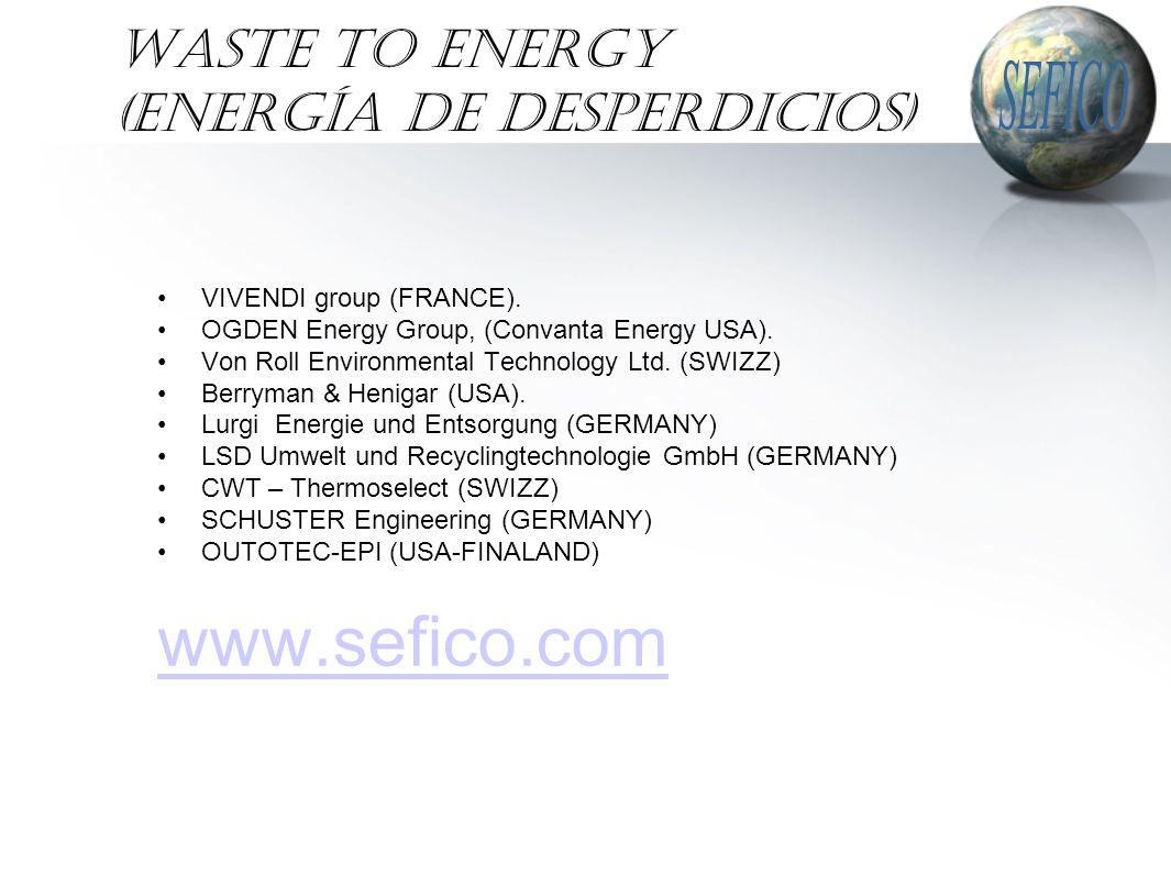 WASTE TO ENERGY (Energía de Desperdicios) VIVENDI group (FRANCE). OGDEN Energy Group, (Convanta Energy USA). Von Roll Environmental Technology Ltd. (S