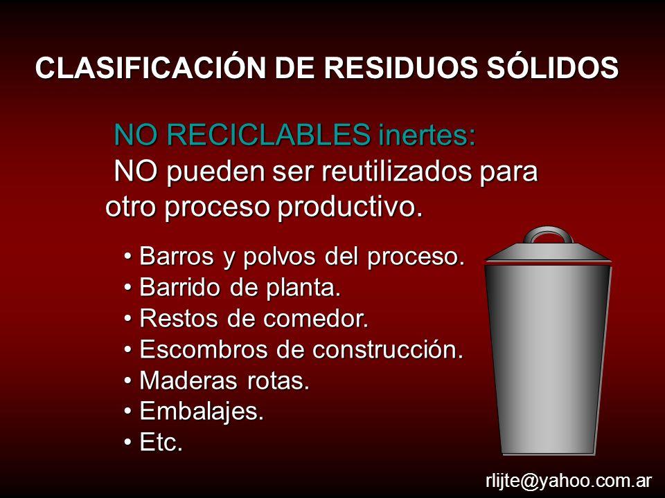 CLASIFICACIÓN DE RESIDUOS SÓLIDOS RECICLABLES: pueden ser reutilizados para otro proceso productivo.