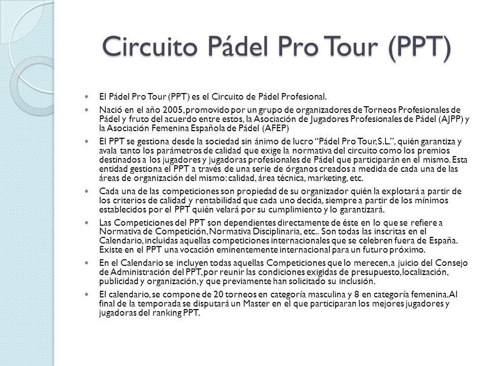 Circuito Pádel Pro Tour (PPT) El Pádel Pro Tour (PPT) es el Circuito de Pádel Profesional. Nació en el año 2005, promovido por un grupo de organizador