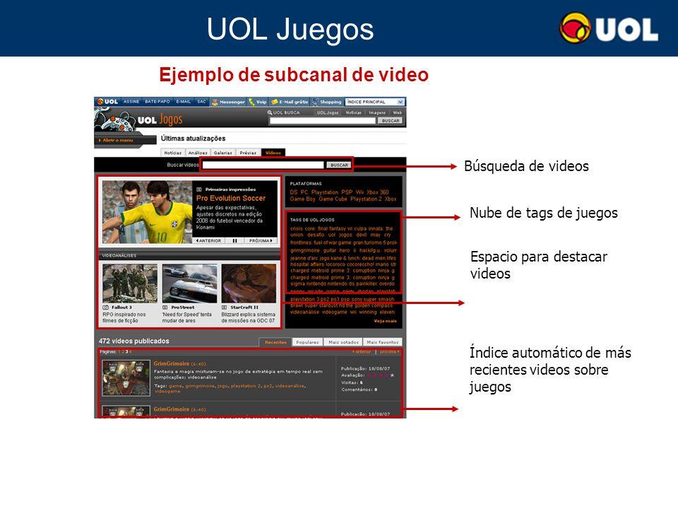 UOL Juegos Espacio para destacar videos Índice automático de más recientes videos sobre juegos Búsqueda de videos Ejemplo de subcanal de video Nube de