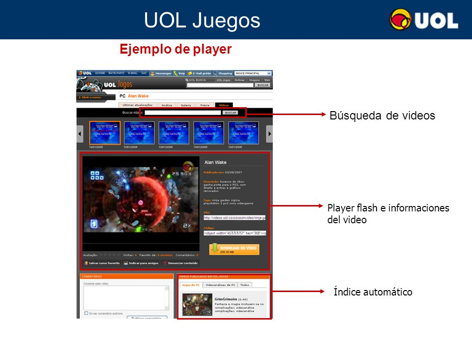 UOL Juegos Búsqueda de videos Player flash e informaciones del video Índice automático Ejemplo de player
