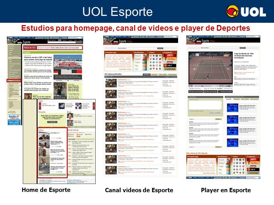 UOL Esporte Estudios para homepage, canal de videos e player de Deportes Home de Esporte Canal videos de Esporte Player en Esporte