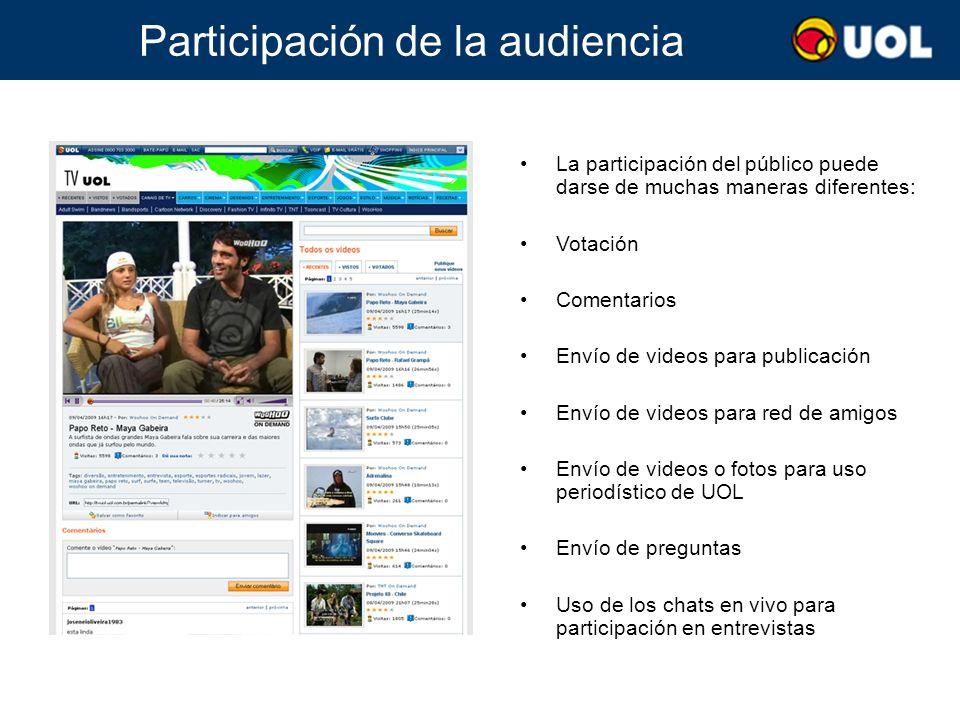 Participación de la audiencia La participación del público puede darse de muchas maneras diferentes: Votación Comentarios Envío de videos para publica