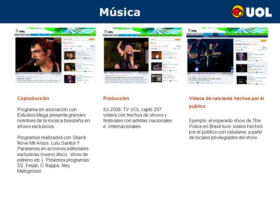 Música Coproducción Programa en asociación con Estudios Mega presenta grandes nombres de la música brasileña en shows exclusivos Programas realizados con Skank, Nove Mil Anjos, Lulu Santos Y Paralamas en acciones editoriales exclusivas (nuevo disco, show de estreno etc.).