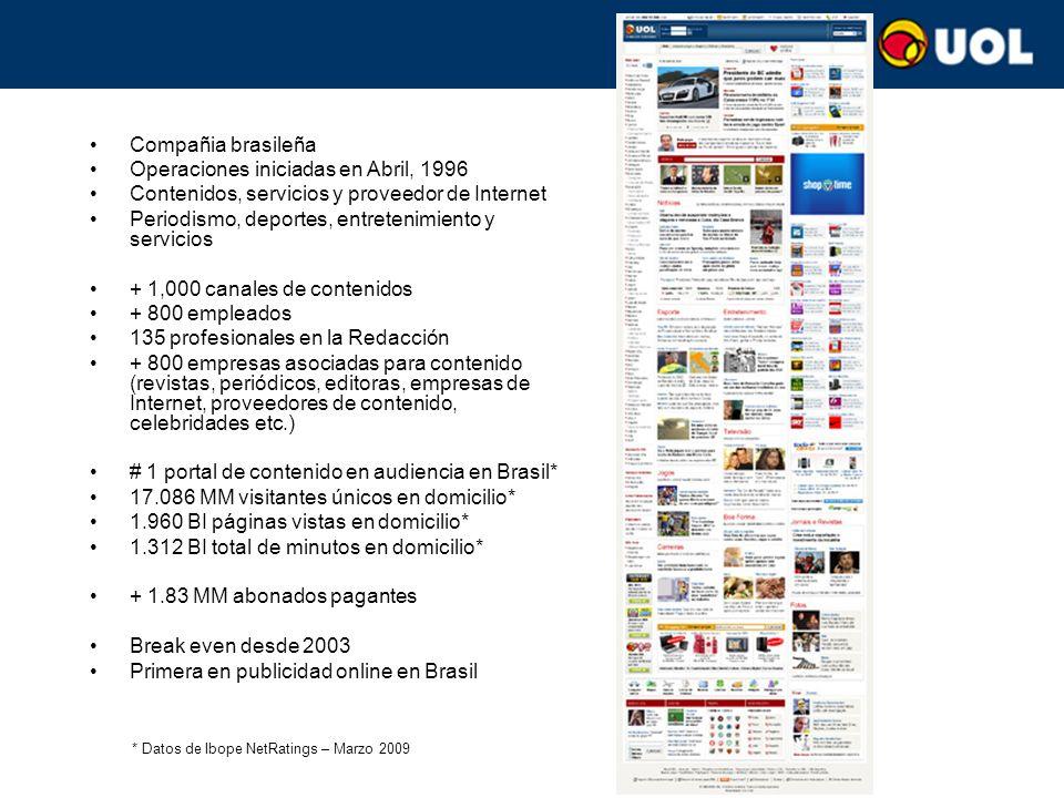 Compañia brasileña Operaciones iniciadas en Abril, 1996 Contenidos, servicios y proveedor de Internet Periodismo, deportes, entretenimiento y servicios + 1,000 canales de contenidos + 800 empleados 135 profesionales en la Redacción + 800 empresas asociadas para contenido (revistas, periódicos, editoras, empresas de Internet, proveedores de contenido, celebridades etc.) # 1 portal de contenido en audiencia en Brasil* 17.086 MM visitantes únicos en domicilio* 1.960 BI páginas vistas en domicilio* 1.312 BI total de minutos en domicilio* + 1.83 MM abonados pagantes Break even desde 2003 Primera en publicidad online en Brasil * Datos de Ibope NetRatings – Marzo 2009