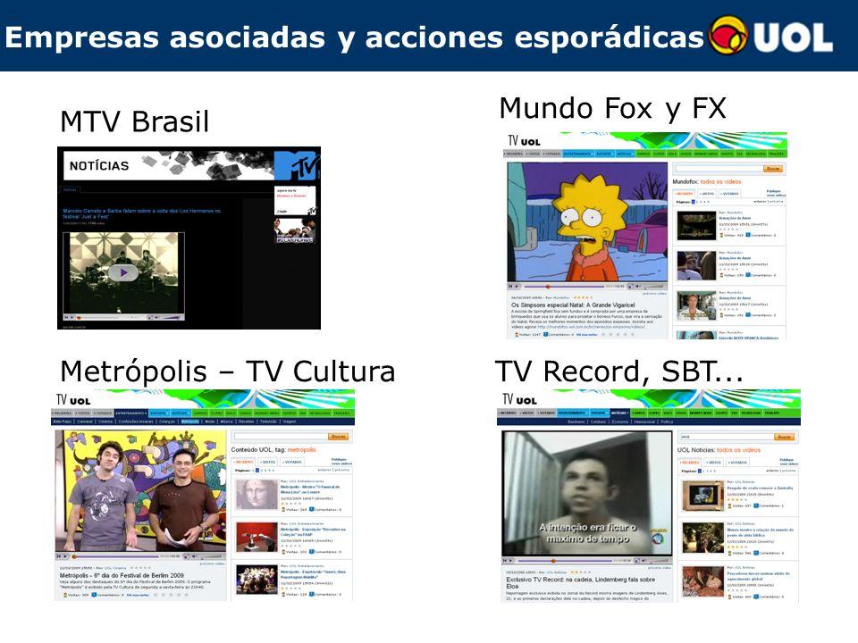 Empresas asociadas y acciones esporádicas MTV Brasil Metrópolis – TV CulturaTV Record, SBT... Mundo Fox y FX