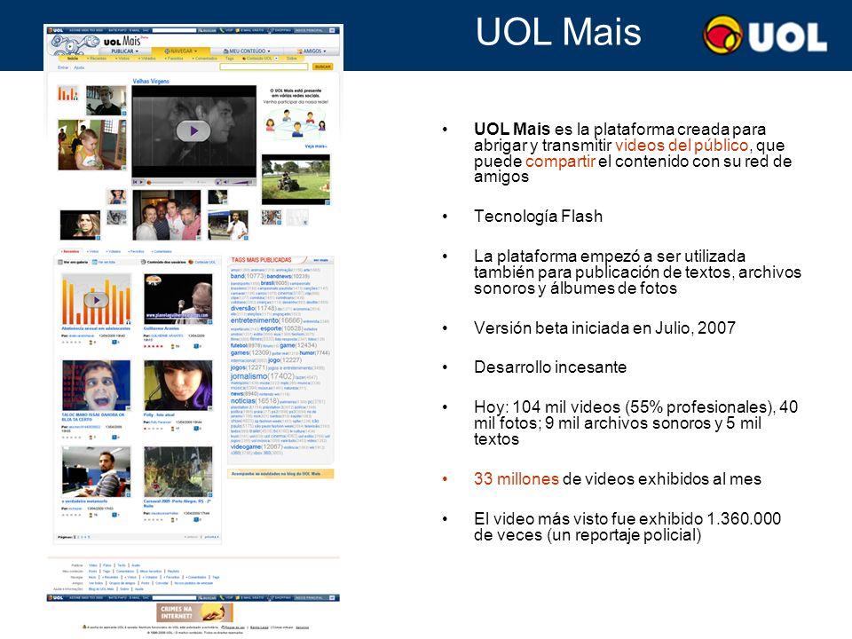 TV UOL x UOL Mais UOL Mais y TV UOL son interfaces, marcas y homepages diferentes para la misma base de videos (profesionales y de la audiencia) La búsqueda es unificada Los dos sitios invitan a la audiencia a publicar sus videos Los videos profesionales son mayor en número y resultan en más audiencia que los videos del público